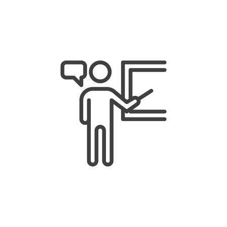 Business presentation board line icon. linear style sign for mobile concept and web design. Man standing at presentation screen outline vector icon. Symbol,  illustration. Vector graphics
