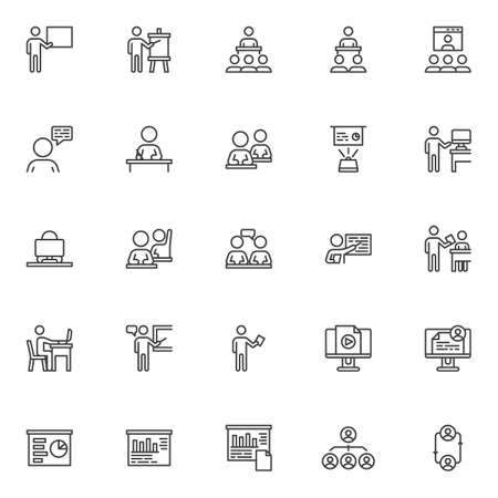 Business training line icons set. linear style symbols collection, outline signs pack. vector graphics. Set includes icons as Employee replacement, business presentation screen, employee meeting Çizim
