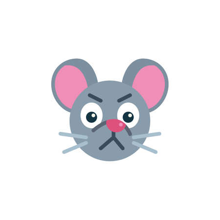 Moody mouse face emoji flat icon, vector sign, Angry rat emoticon colorful pictogram isolated on white. Symbol, illustration. Flat style design