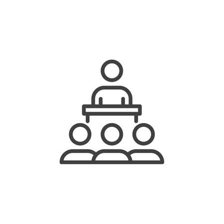 Speaker and audience line icon. linear style sign for mobile concept and web design. Business training outline vector icon. Education symbol,  illustration. Vector graphics Çizim