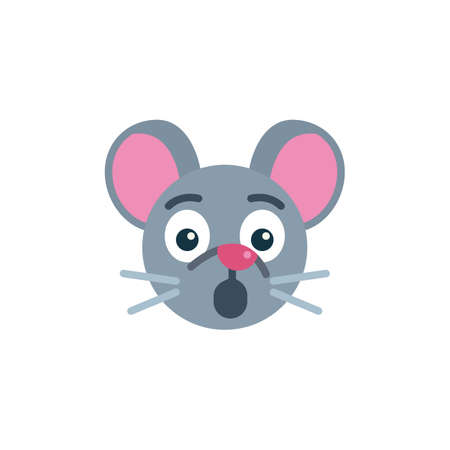 Surprised mouse face emoji flat icon, vector sign, Embarrassed rat emoticon colorful pictogram isolated on white. Symbol,  illustration. Flat style design
