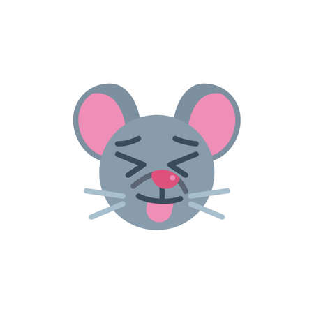 Stuck-out tongue mouse face emoji flat icon, vector sign, Showing tongue rat emoticon colorful pictogram isolated on white. Symbol,  illustration. Flat style design