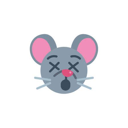 Dormant mouse face emoji flat icon, vector sign, Sleeping rat emoticon colorful pictogram isolated on white. Symbol,  illustration. Flat style design Ilustrace