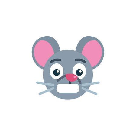 Panic rat emoticon flat icon, vector sign, Shocked mouse face emoji colorful pictogram isolated on white. Symbol,  illustration. Flat style design