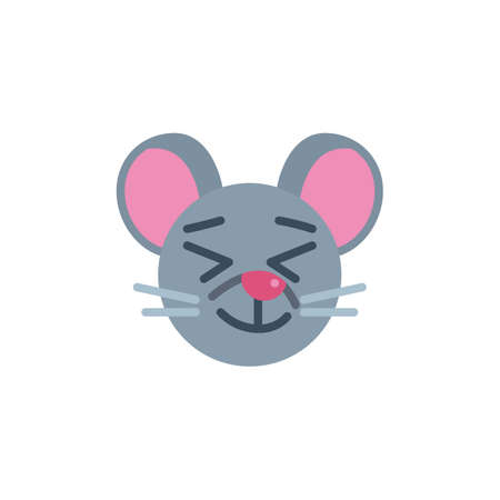 Happy mouse face emoji flat icon, vector sign, Satisfied rat emoticon colorful pictogram isolated on white. Symbol,  illustration. Flat style design