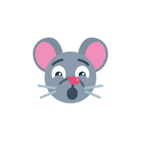 Shocked mouse face emoji flat icon, vector sign, Scared rat emoticon colorful pictogram isolated on white. Symbol,  illustration. Flat style design Ilustração