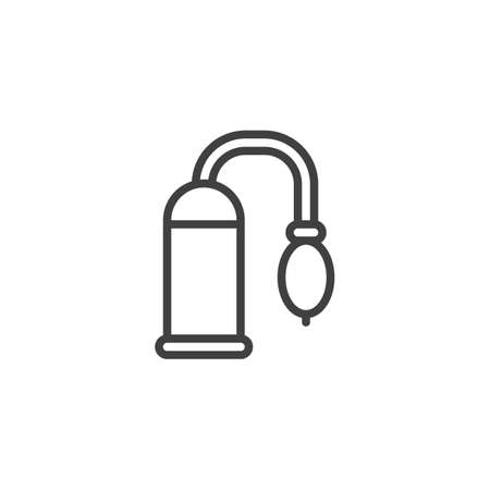 Penis pump sex toy line icon. linear style sign for mobile concept and web design. Vacuum penis pump outline vector icon. Symbol, logo illustration. Vector graphics