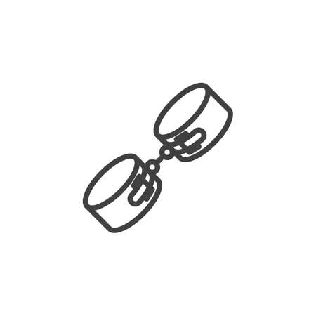 Sexy handcuffs line icon. linear style sign for mobile concept and web design. Handcuffs sex toy outline vector icon. Symbol, logo illustration. Vector graphics Ilustração