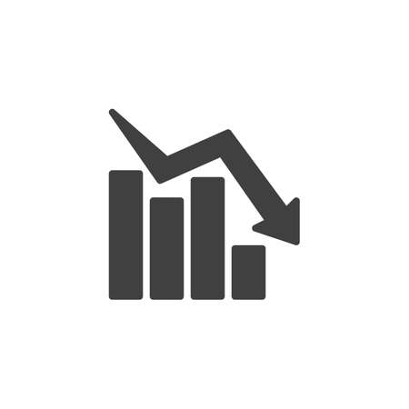 Declining graph vector icon. Business decline chart filled flat sign for mobile concept and web design. Negative graph statistics glyph icon. Symbol, logo illustration. Vector graphics
