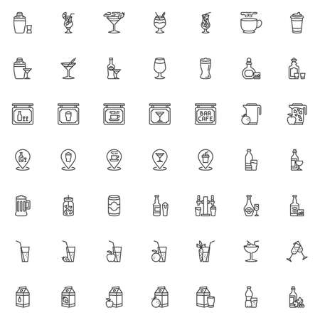 Drinks and Beverages line icons set. linear style symbols collection, outline signs pack. vector graphics. Set includes icons as cocktail milkshake, alcoholic drinks, shaker with glass shot, water