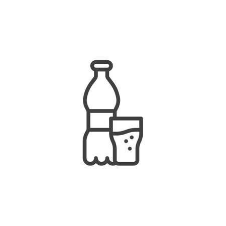 Soda bottle glass line icon. linear style sign for mobile concept and web design. Glass of water and bottle outline vector icon. Bar beverages symbol, logo illustration. Vector graphics Archivio Fotografico - 133989009