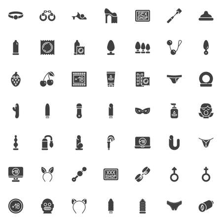 Sex shop vector icons set, modern solid symbol collection filled style pictogram pack. Signs illustration. Set includes icons as Ball gag, handcuffs, condom, butt anal plug, lubricant, dildo toy