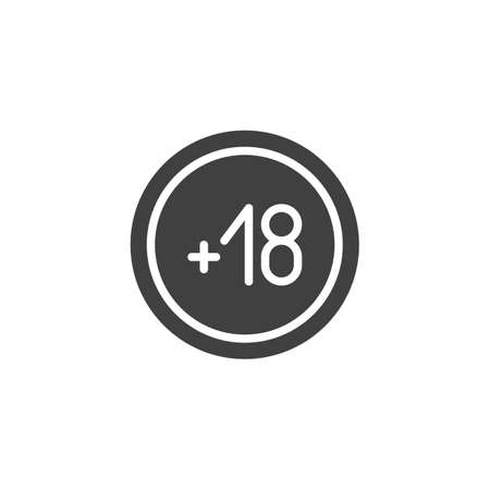 Under 18 years prohibition sign vector icon. filled flat sign for mobile concept and web design. 18 plus restriction adult glyph icon. Symbol illustration. Vector graphics