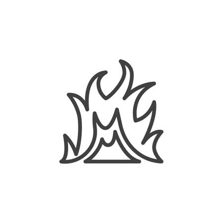 Bonfire flame line icon. Hot flaming linear style sign for mobile concept and web design. Fire flame outline vector icon. Symbol illustration. Vector graphics