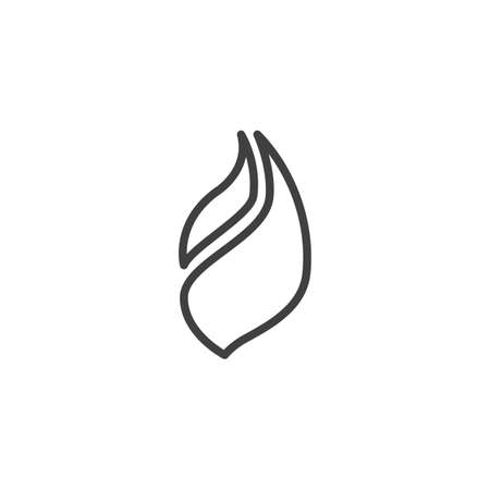 Hot flaming line icon. Bonfire linear style sign for mobile concept and web design. Fire flame outline vector icon. Symbol illustration. Vector graphics