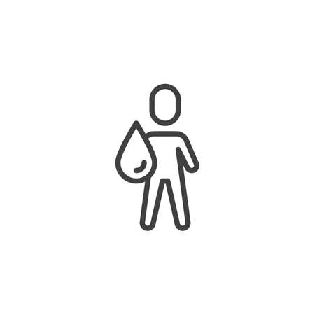Man and water drop line icon. linear style sign for mobile concept and web design. Water man outline vector icon. Symbol illustration. Vector graphics