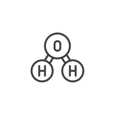 Oxygen molecule line icon. linear style sign for mobile concept and web design. H2O, water chemical formula outline vector icon. Symbol illustration. Vector graphics
