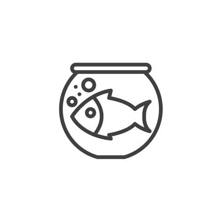 Fish in an aquarium line icon. linear style sign for mobile concept and web design. Aquarium with water and fish outline vector icon. Symbol illustration. Vector graphics Ilustrace