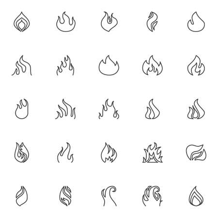 Fire flame line icons set. linear style symbols collection, outline signs pack. vector graphics. Set includes icons as burning fire, bonfire, flammable, blaze, fireball, torch light, fireplace