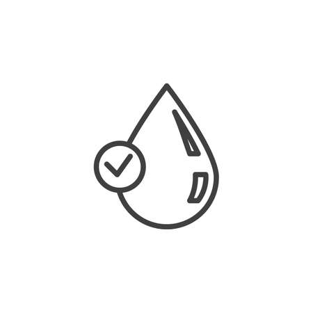 Clean water quality line icon. Droplet with check mark linear style sign for mobile concept and web design. Water drop with a tick outline vector icon. Symbol illustration. Vector graphics