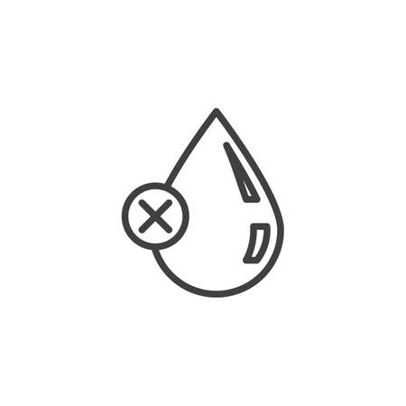 Poor water quality line icon. Droplet with cancel linear style sign for mobile concept and web design. Water drop delete outline vector icon. Symbol illustration. Vector graphics