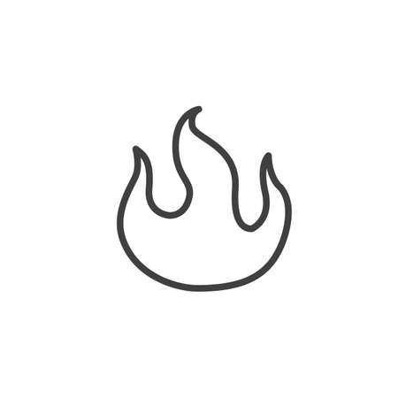 Burning fire flame line icon. Bonfire linear style sign for mobile concept and web design. Hot flaming outline vector icon. Symbol illustration. Vector graphics Ilustrace
