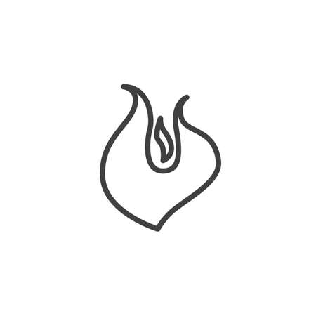 Fire flame line icon. Bonfire linear style sign for mobile concept and web design. Hot flaming outline vector icon. Symbol illustration. Vector graphics