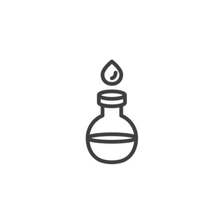 Water drop and laboratory flask line icon. linear style sign for mobile concept and web design. Water test tube outline vector icon. Symbol illustration. Vector graphics