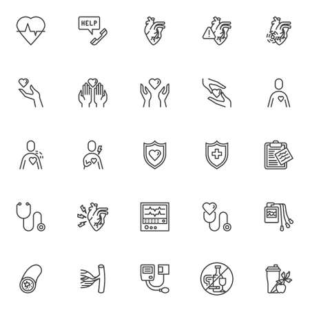 Heart health care line icons set. linear style symbols collection, outline signs pack. vector graphics. Set includes icons as heart attack, heartbeat, blood pressure meter, ecg machine, cardiogram