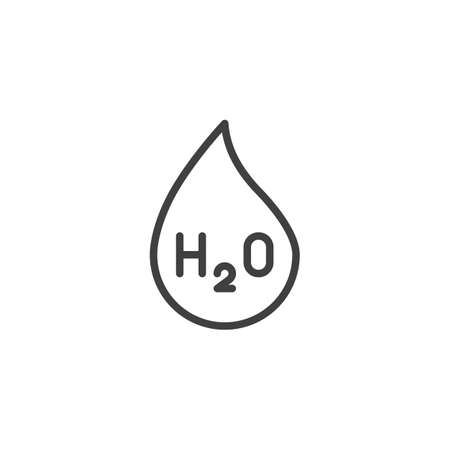 Water chemical formula line icon. linear style sign for mobile concept and web design. H2O water drop outline vector icon. Symbol illustration. Vector graphics