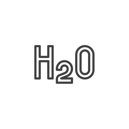 Water formula H2O line icon. linear style sign for mobile concept and web design. Chemical formula of water outline vector icon. Symbol illustration. Vector graphics Ilustracja