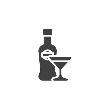 Martini bottle with glass vector icon. filled flat sign for mobile concept and web design. Glass of cocktail and bottle glyph icon. Bar beverage symbol illustration. Vector graphics Foto de archivo - 134707847