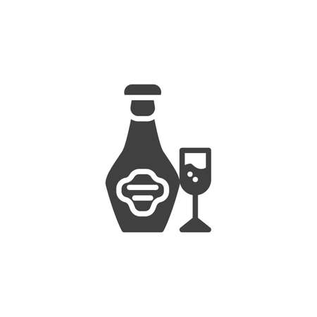 Brandy bottle and glass vector icon. filled flat sign for mobile concept and web design. Cognac alcoholic drink glyph icon. Symbol illustration. Vector graphics Ilustrace