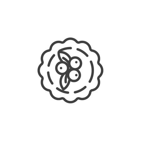 Rowan berry pie line icon. linear style sign for mobile concept and web design. Thanksgiving pie cake, top view outline vector icon. Symbol, logo illustration. Vector graphics
