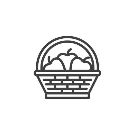 Fruit basket line icon. linear style sign for mobile concept and web design. Wicker basket with apples outline vector icon. Symbol, logo illustration. Vector graphics