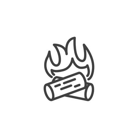 Firewood flame line icon. Bonfire linear style sign for mobile concept and web design. Wood campfire outline vector icon. Symbol, logo illustration. Burning wooden logs vector graphics