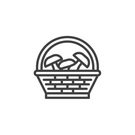 Mushroom basket line icon. linear style sign for mobile concept and web design. Wicker basket with mushrooms outline vector icon. Harvest symbol, logo illustration. Vector graphics