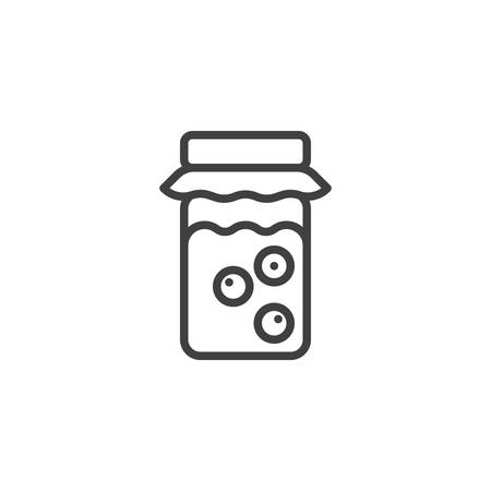 Berry jam jar line icon. linear style sign for mobile concept and web design. Jar of currant jam outline vector icon. Symbol, logo illustration. Vector graphics