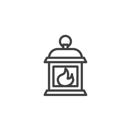 Gas lantern with burning light line icon. linear style sign for mobile concept and web design. Lantern lamp light outline vector icon. Symbol, logo illustration. Vector graphics Foto de archivo - 134672712