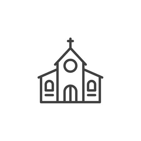Church with cross line icon. linear style sign for mobile concept and web design. Church building outline vector icon. Religion symbol, logo illustration. Vector graphics