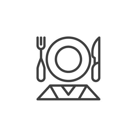 Table setting line icon. Cutlery linear style sign for mobile concept and web design. Plate, knife fork napkin outline vector icon. Restaurant symbol, logo illustration. Vector graphics
