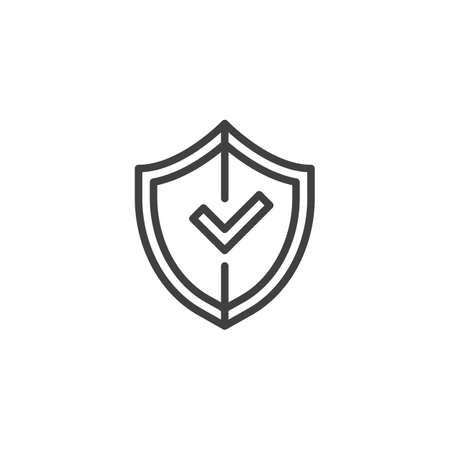 Shield with check mark line icon. linear style sign for mobile concept and web design. Secure Protection outline vector icon. Symbol, logo illustration. Vector graphics Illustration