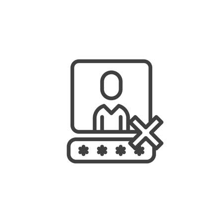 Wrong user account password line icon. linear style sign for mobile concept and web design. Username authorization password incorrect outline vector icon. symbol, logo illustration. Vector graphics