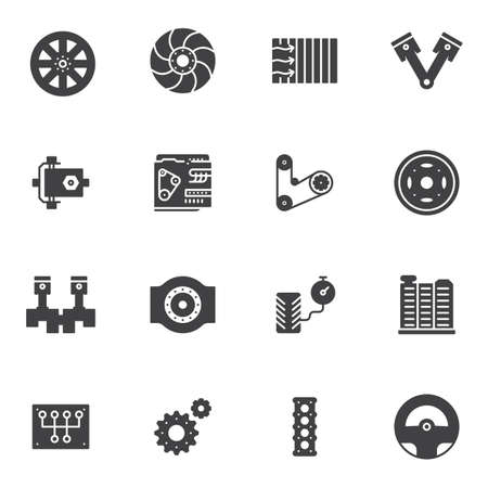The car parts vector icons set, modern solid symbol collection, filled style pictogram pack. Signs, logo illustration. Set includes icons as brake disk, steering wheel, car engine, transmission, piston system, gears
