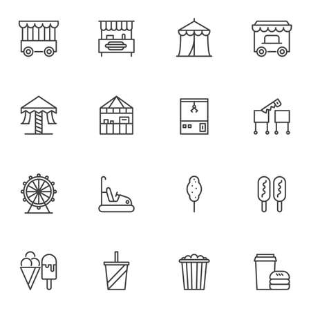 Circus line icons set. linear style symbols collection, outline signs pack. vector graphics. Set includes icons as circus tent, game arcade, ice cream, carousel, ferris wheel, mobile food trailer