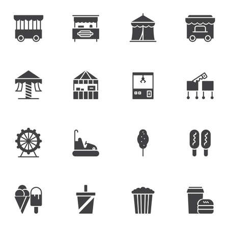 Circus vector icons set, modern solid symbol collection filled style pictogram pack. Signs logo illustration. Set includes icons as circus tent, game arcade, ice cream, carousel, ferris wheel, popcorn Иллюстрация