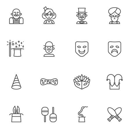 Circus artists line icons set. linear style symbols collection, outline signs pack. vector graphics. Set includes icons as strong man, magician, clown, acrobat, wizard, magic wand and hat trick, mask Foto de archivo - 134673124