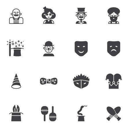 Circus artists vector icons set, modern solid symbol collection, filled style pictogram pack. Signs, logo illustration. Set includes icons as strong man, magician, clown, acrobat, wizard, magic wand Foto de archivo - 134673125