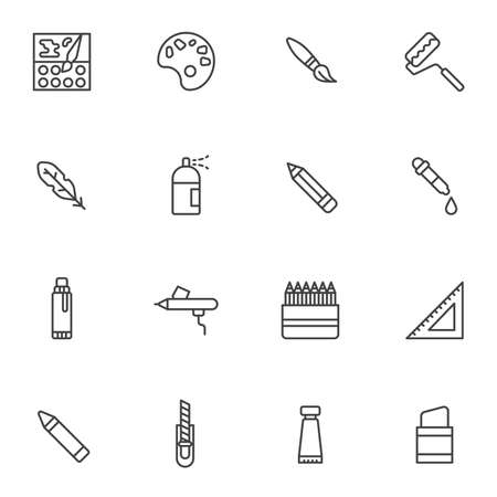 Painting tool line icons set. Graphic design linear style symbols collection outline signs pack. vector graphics. Set includes icons as color palette paintbrush, pipette, pencil, pen, sprayer, eraser