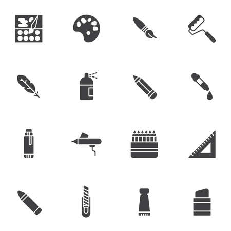 Painting tool vector icons set, modern solid symbol collection, filled style pictogram pack. Signs, logo illustration. Set includes icons as color palette paintbrush, pipette, pencil, sprayer, eraser